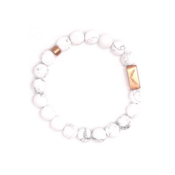 玫瑰墨语 白松石+玫瑰金色钛钢logo配饰8mm女手链