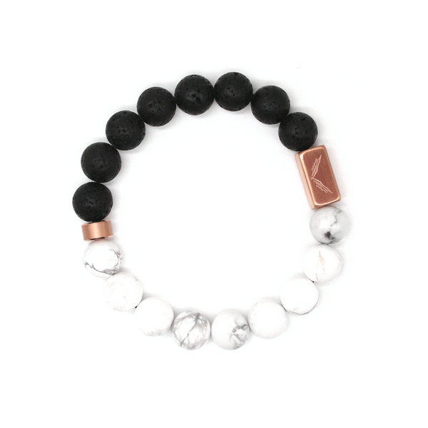 黑白鸳鸯 白松石、火山石+玫瑰金配饰10mm手链