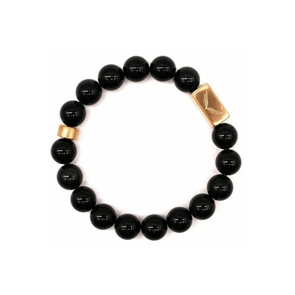 魅黑魔影 黑玛瑙+金色钛钢logo配饰10mm手链