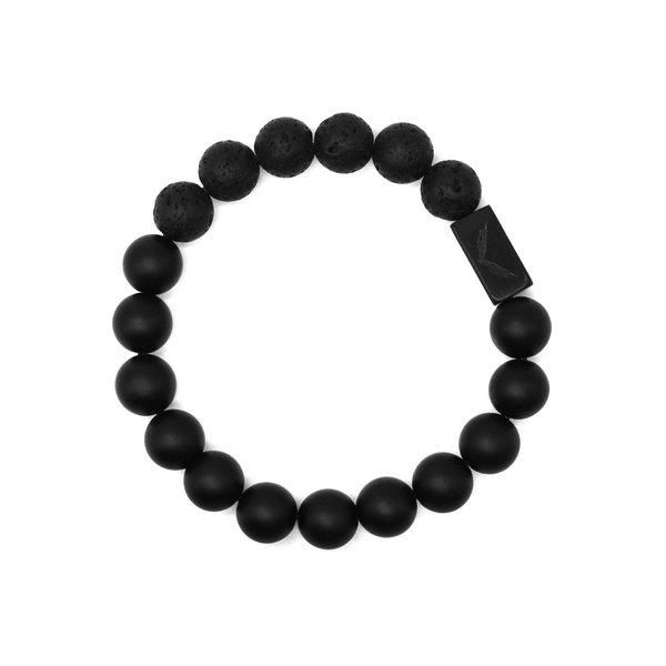 暗黑武士 磨砂玛瑙+火山石+黑钛钢logo配饰10mm手链